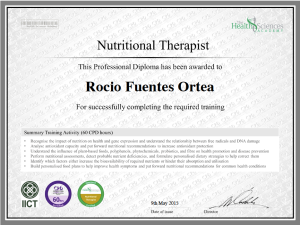 Nutritional Therapist Certificate